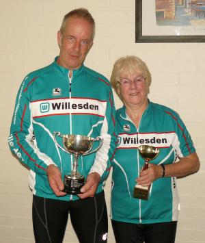 Tim Burrows and Jenny Wright with their trophies