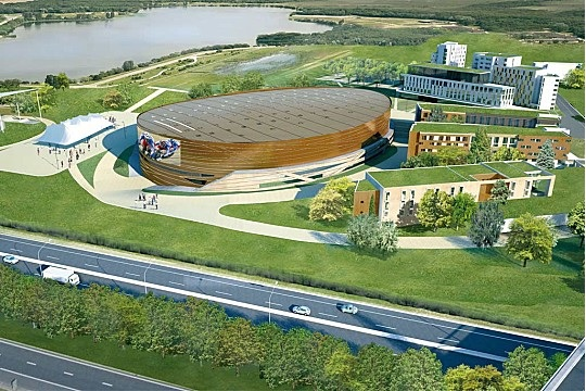 An artists impression of the new Velodrome and surrounding park at Saint Quentin sur Yvelines