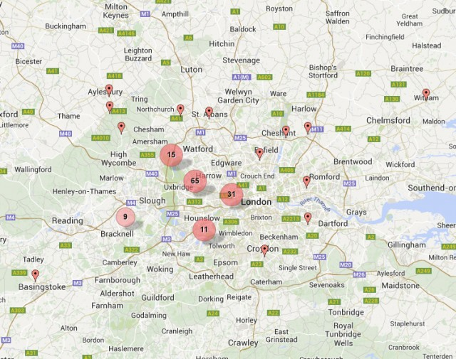 Overview of locations of Willesden members near London