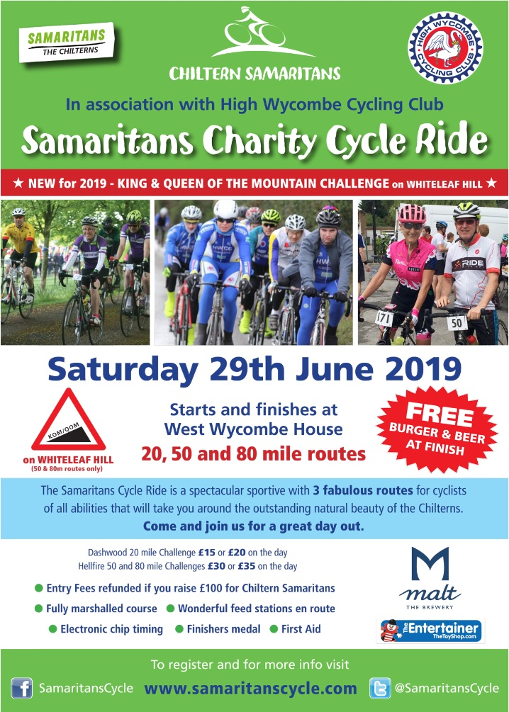 c83a8b1e2a4 I am part of the team that organise the Samaritans Cycle Ride in West  Wycombe, Buckinghamshire. We are a stone's throw away from London.