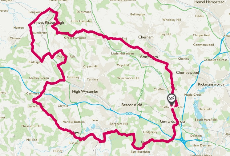 100km route outline map